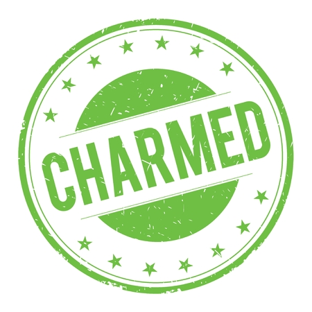 CHARMED stamp sign text word logo green.
