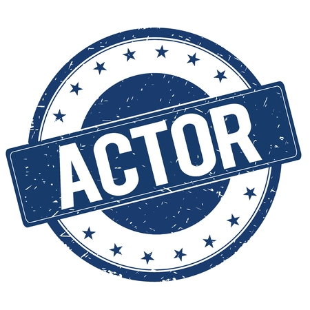 actor: ACTOR stamp sign text word logo blue.