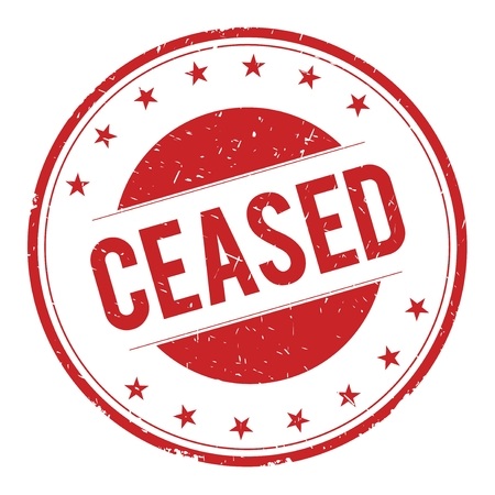 ceased: CEASED stamp sign text word logo red.