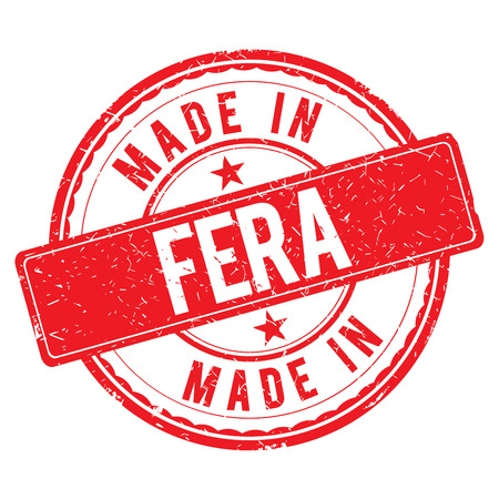 made: Made in FERA stamp Stock Photo