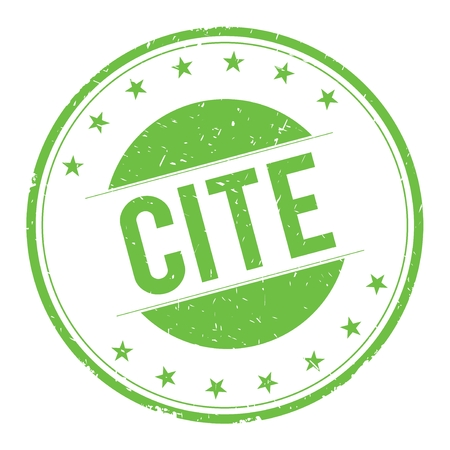 CITE stamp sign text word logo green. Stock Photo