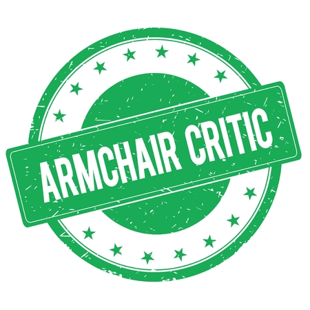 ARMCHAIR CRITIC stamp sign text word logo green.