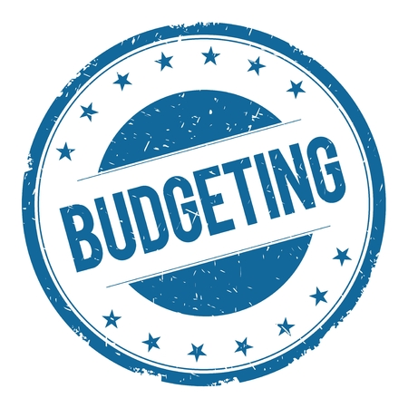 budgeting: BUDGETING stamp sign text word logo blue.