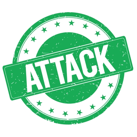 attack: ATTACK stamp sign text word logo green.