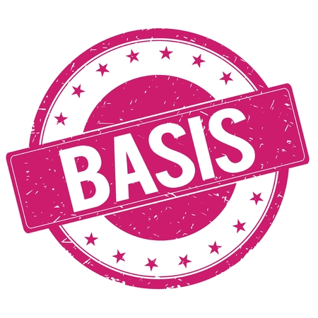 BASIS stamp sign text word logo magenta pink.