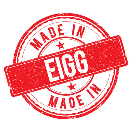 made: Made in EIGG stamp Stock Photo