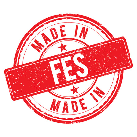 made: Made in FES stamp Stock Photo