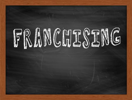franchising: FRANCHISING  hand writing text on black chalkboard