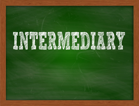 green chalkboard: INTERMEDIARY handwritten chalk text on green chalkboard Stock Photo