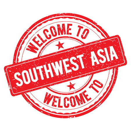 southwest asia: SOUTHWEST ASIA. Welcome to stamp sign illustration Stock Photo
