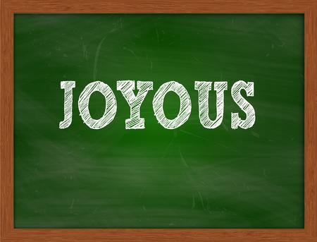 joyous: JOYOUS handwritten chalk text on green chalkboard