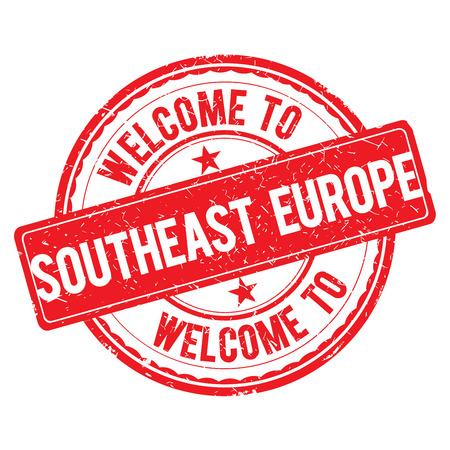 southeast: SOUTHEAST EUROPE. Welcome to stamp sign illustration