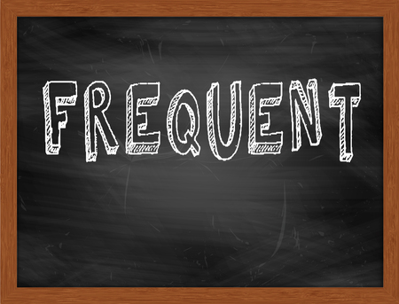 frequent: FREQUENT  hand writing text on black chalkboard