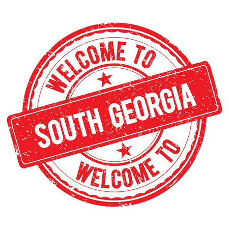 south georgia: SOUTH GEORGIA. Welcome to stamp sign illustration Stock Photo