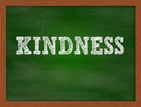 kindness: KINDNESS handwritten chalk text on green chalkboard