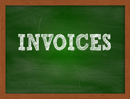 invoices: INVOICES handwritten chalk text on green chalkboard