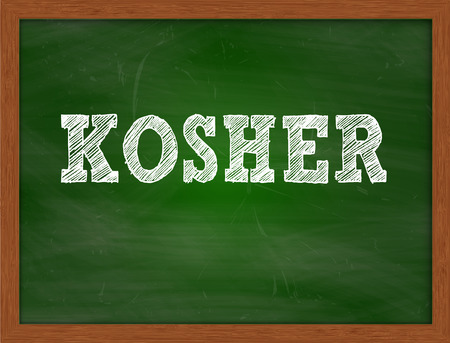 green chalkboard: KOSHER handwritten chalk text on green chalkboard