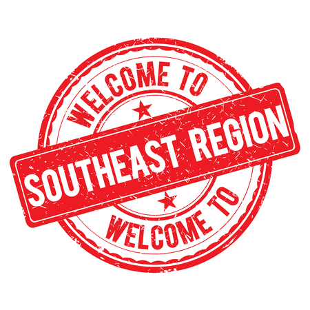 southeast: SOUTHEAST REGION. Welcome to stamp sign illustration Stock Photo