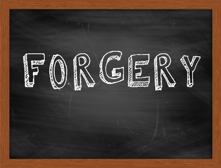 forgery: FORGERY  hand writing text on black chalkboard