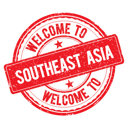SOUTHEAST ASIA. Welcome to stamp sign illustration