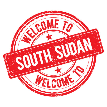 south sudan: SOUTH SUDAN. Welcome to stamp sign illustration Stock Photo
