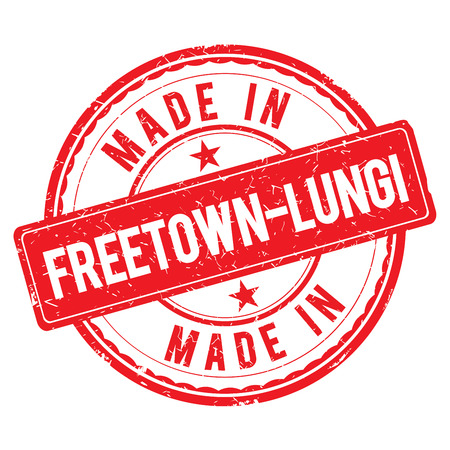 Made in FREETOWN-LUNGI stamp Stock Photo