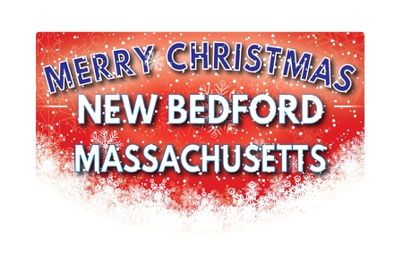 xm: NEW BEDFORD MASSACHUSETTS  Merry Christmas greeting card Stock Photo