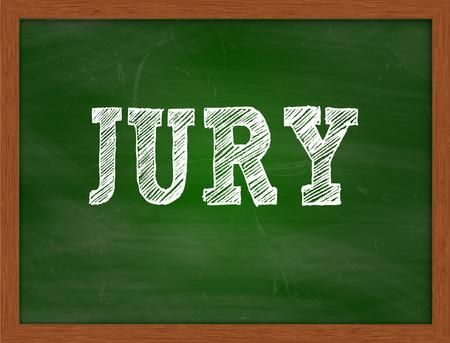 jurado: JURADO texto escrito a mano con tiza en la pizarra verde Foto de archivo