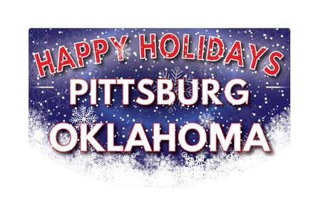 oklahoma: PITTSBURG OKLAHOMA  Happy Holidays greeting card