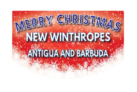 cele: NEW WINTHROPES ANTIGUA AND BARBUDA  Merry Christmas greeting card Stock Photo