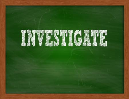green chalkboard: INVESTIGATE handwritten chalk text on green chalkboard Stock Photo