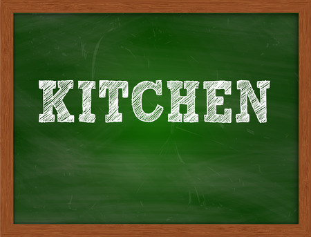 green chalkboard: KITCHEN handwritten chalk text on green chalkboard