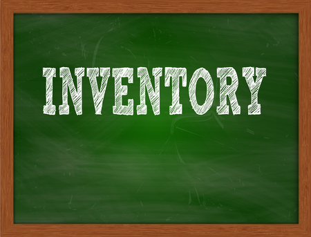 green chalkboard: INVENTORY handwritten chalk text on green chalkboard