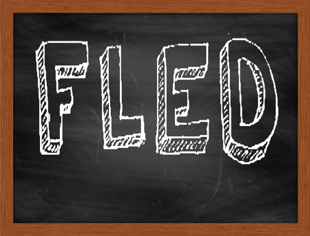 fled: FLED  hand writing text on black chalkboard