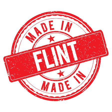 made: Made in FLINT stamp Stock Photo