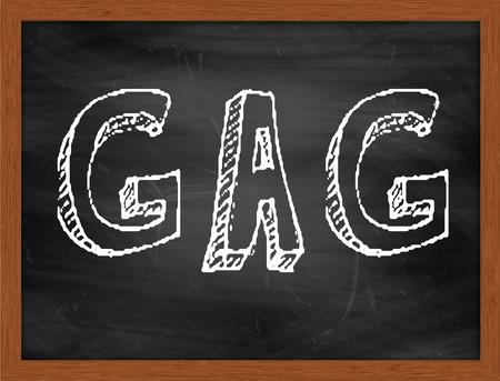 gag: GAG  hand writing text on black chalkboard