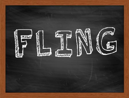 fling: FLING  hand writing text on black chalkboard Stock Photo