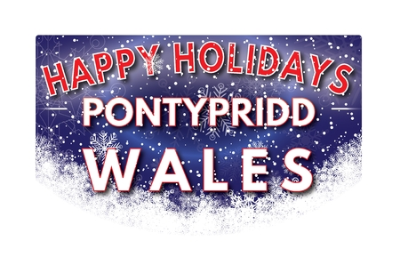 wales: PONTYPRIDD WALES  Happy Holidays greeting card
