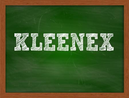 KLEENEX handwritten chalk text on green chalkboard Stock Photo