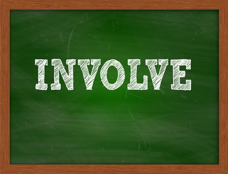 involve: INVOLVE handwritten chalk text on green chalkboard