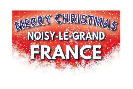 le: NOISY LE GRAND FRANCE  Merry Christmas greeting card Stock Photo