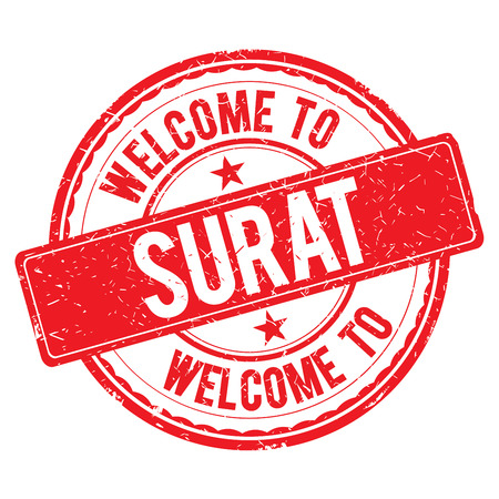 SURAT. Welcome to stamp sign illustration
