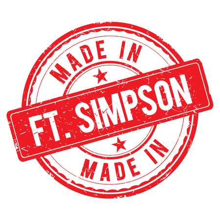 made: Made in FT-SIMPSON stamp Stock Photo
