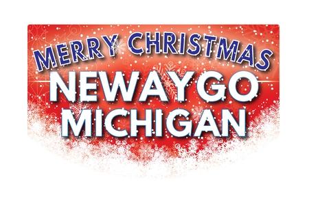 michigan snow: NEWAYGO MICHIGAN  Merry Christmas greeting card