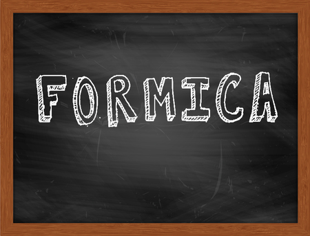 formica: FORMICA  hand writing text on black chalkboard