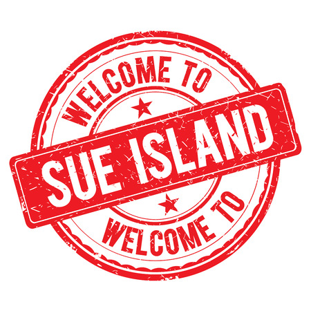 sue: SUE ISLAND. Welcome to stamp sign illustration Stock Photo