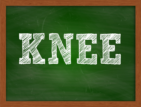 green chalkboard: KNEE handwritten chalk text on green chalkboard Stock Photo