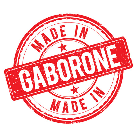 made: Made in GABORONE stamp Stock Photo
