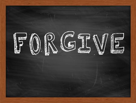 forgive: FORGIVE  hand writing text on black chalkboard