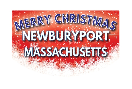xm: NEWBURYPORT MASSACHUSETTS  Merry Christmas greeting card Stock Photo